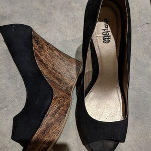 Black Open Toe shoes - Lightly worn